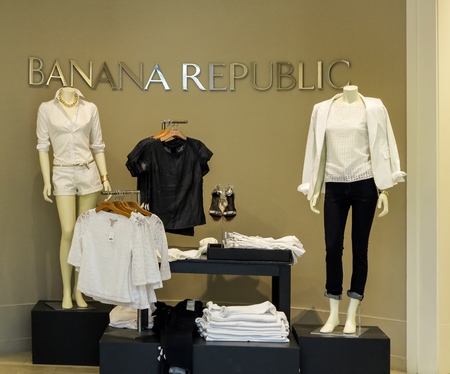 retailer: DENVER, USA - JUNE 25, 2014: Banana Republic store in Denver.Banana Republic is a clothing and accessories retailer founded at 1978. Editorial