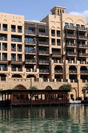 windtower: Dubai, United Arab Emirates - November 15, 2010: View at hotel Madinat Jumeirah in Dubai. Madinat Jumeirah encompasses two hotels and clusters of 29 traditional Arabic houses.