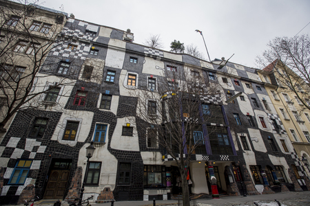 VIENNA, AUSTRIA - FEBRUARY 4, 2014: Detail od the KunstHausWien, museum in Vienna. The Museum was designed by the artist Friedensreich Hundertwasser and was completed in 1986.