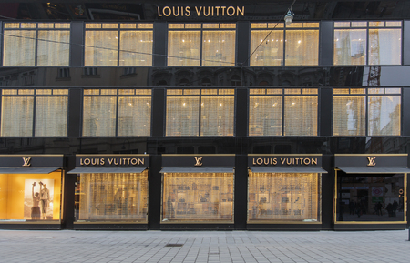 vuitton: VIENNA, AUSTRIA - FEBRUARY 5, 2014: View at Louis Vuitton shop in Vienna, Austria. Louis Vuitton is a French fashion house founded in 1854 and one of the worlds leading international fashion houses. Editorial