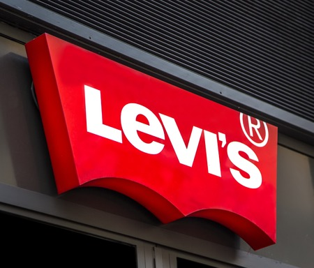 levi: CATANIA, ITALY - APRIL 27, 2014: Detail of the Levi Strauss & Co. shop in Catania. Levis company was founded in 1853 and now have more than 2,800 company-operated stores. Editorial