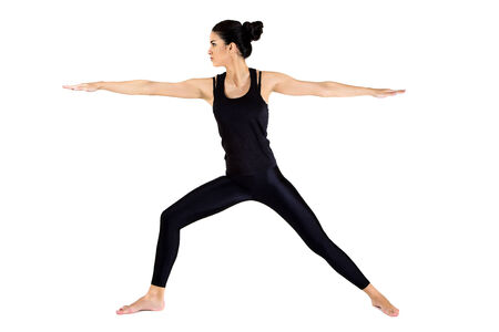 Pretty young woman training yoga photo