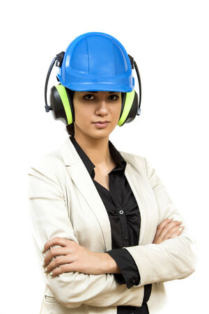 Young woman with protective workwear photo
