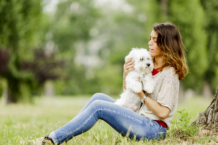 animal park: Young woman with a maltese dog Stock Photo
