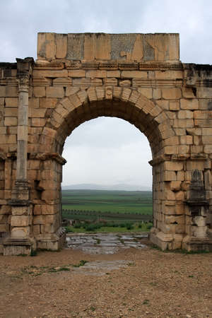volubilis: Triumphal arc in Volubilis, Morocco Stock Photo