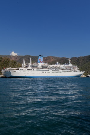 cruiseliner: MARMARIS, TURKEY - SEPTEMBER 15, 2014: Cruiser in the Marmaris port in Mugla province in Turkey. At 2013 more than 3 million tourists visited Mugla province. Editorial