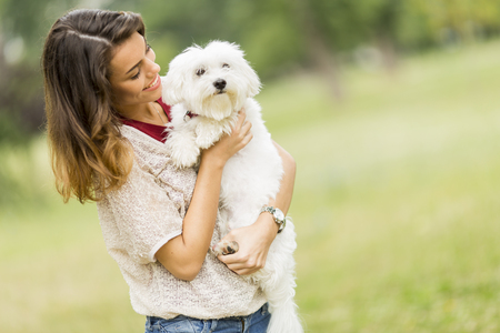 maltese: Young woman with a maltese dog Stock Photo