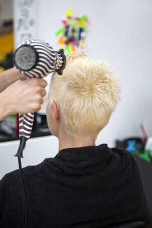 haircutting: Young woman at hairdresser haircutting