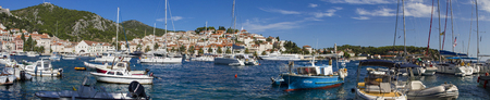 HVAR, CROATIA - JUL 1, 2014: Boats at marina in Hvar, Croatia. Hvar is one of the most popular and most visited destination in Croatia.