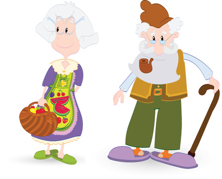 older couple: Vector illustration of the grandmother and grandfather Illustration