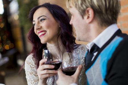 Romantic couple in restaurant photo