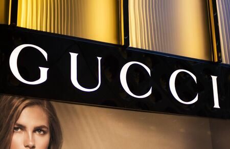 gucci store: SYDNEY, AUSTRALIA - FEBRUARY 9, 2015: Gucci shop in Sidney, Australia. Gucci is an Italian fashion and leather goods brand founded at 1921.