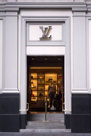 louis vuitton: SYDNEY, AUSTRALIA - FEBRUARY 9, 2015: View at Louis Vuitton shop in Sydney, Australia. Louis Vuitton is a French fashion house founded in 1854 and one of the worlds leading international fashion houses.