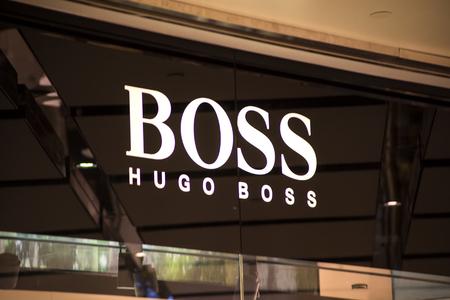 hugo: SYDNEY, AUSTRALIA - FEBRUARY 9, 2015: Hugo Boss shop in Sidney, Australia. Hugo Boss is German luxury fashion and style house founded in Metzingen at 1924.