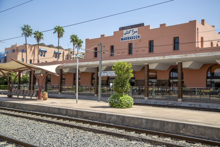 endpoint: MARRAKESH, MOROCCO - SEPTEMBER 11, 2014: Ttrain station in Marrakesh, Morocco. Train station was opened on August 10, 2008 and now is southern end-point of the Moroccan railway system.