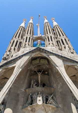 anticipated: View of Sagrada Familia church in Barcelona, Spain. Construction of Sagrada Familia had started in 1882 and an anticipated completion date is at 2026.