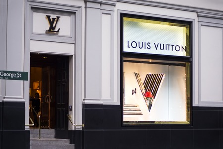 louis vuitton: SYDNEY, AUSTRALIA - FEBRUARY 9, 2015: View at Louis Vuitton shop in Sydney, Australia. Louis Vuitton is a French fashion house founded in 1854 and one of the world