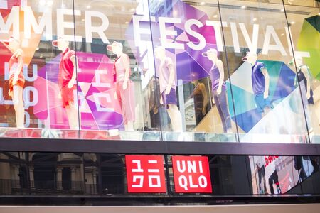 sidney: SYDNEY, AUSTRALIA - FEBRUARY 9, 2015: Detail of the Uniqlo shop in Sidney, Australia. It is a Japanese casual wear designer, founded at 1974.