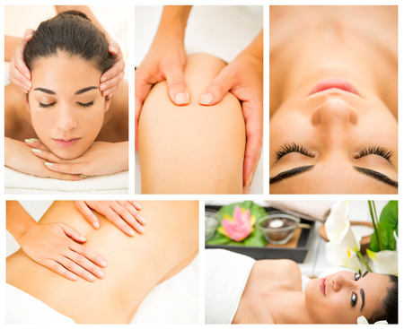 massage therapy: Pretty young woman having a massage