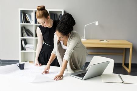 personas trabajando en oficina: Las mujeres jóvenes en la oficina