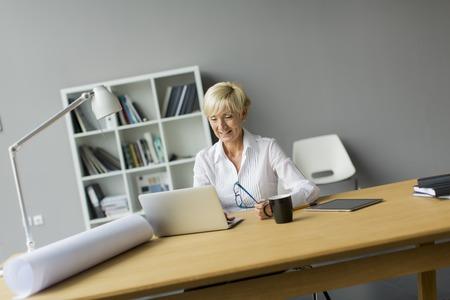 mujeres trabajando: Mujer que trabaja en la Oficina  Foto de archivo