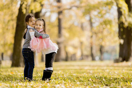 Cute little girls in the autumn park photo