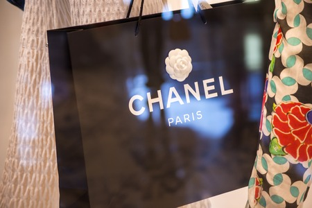 chanel: SYDNEY, AUSTRALIA - FEBRUARY 9, 2015: Detail from Chanel shop in Sidney, Australia. Chanel is French fashion company founded at 1909 in Paris.