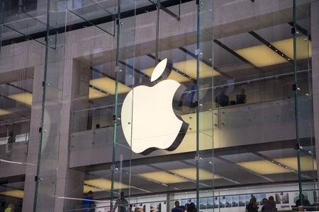 electronics store: SYDNEY, AUSTRALIA - FEBRUARY 2, 2015: Detail from Apple shop in Sidney, Australia. Apple is American multinational corporation founded at 1976 at Cupertino, California. Editorial