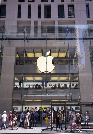sidney: SYDNEY, AUSTRALIA - FEBRUARY 2, 2015: Detail from Apple shop in Sidney, Australia. Apple is American multinational corporation founded at 1976 at Cupertino, California. Editorial