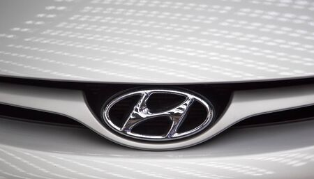 manufacturer: BELGRADE, SERBIA - MARCH 25, 2015: Detail of the Hyundai car in Belgrade, Serbia. Hyundai Motor Company is a South Korean multinational automotive manufacturer founded at 1967.