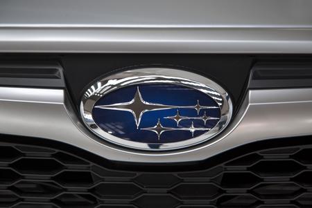 subaru: BELGRADE, SERBIA - MARCH 25, 2015: Detail of the Subaru car in Belgrade, Serbia. Subaru is the automobile manufacturing division of Japanese Fuji Heavy Industries founded at 1953. Editorial