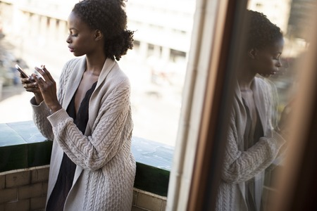 Young black woman in the room Stock Photo