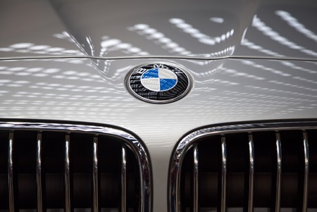 BELGRADE, SERBIA - MARCH 25, 2015: Detail of the BMW car in Belgrade, Serbia. BMW is a German automobile, motorcycle and engine manufacturing company founded in 1916.