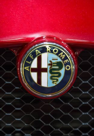 alfa: BELGRADE, SERBIA - MARCH 25, 2015: Detail of the alfa Romeo car in Belgrade, Serbia. Alfa Romeo Automobiles S.p.A. is an Italian luxury car manufacturer founded at 1910.