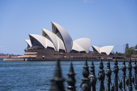 SYDNEY, AUSTRALIA - FEBRUARY 12, 2015: View at Sidney opera house in Sydney, Australia. It was Designed by Danish architect Jorn Utzon and was opened at October 20, 1973.