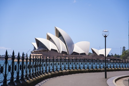 sidney: SYDNEY, AUSTRALIA - FEBRUARY 12, 2015: View at Sidney opera house in Sydney, Australia. It was Designed by Danish architect Jorn Utzon and was opened at October 20, 1973.