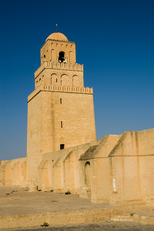 kairouan: Great Mosque of Kairouan In Tunisia Stock Photo