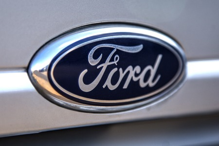 TAORMINA, ITALY - APRIL 28, 2014: Detail of the Ford car in Taormina. Ford Motor Company is an American multinational automaker  founded by Henry Ford on June 16, 1903 Editöryel