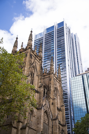 SYDNEY, AUSTRALIA - FEBRUARY 12, 2015: St.Andrew cathedral in Sydney, Australia. It was designed by Edmund Blacket andis the oldest cathedral in Australia.