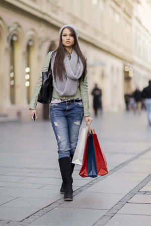 cute lady: Pretty young woman in shopping