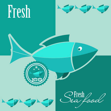 Vector illustration of the fresh seafood sign Vector