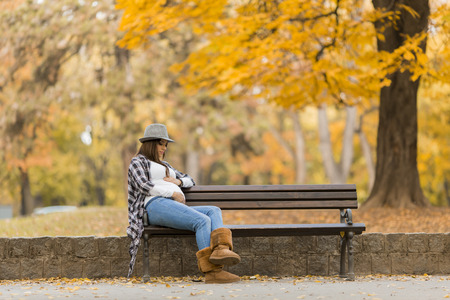 young leaves: Young pregnant woman in the autumn park