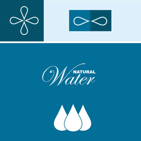 with sets of elements: Vector illustration of the natural water concept