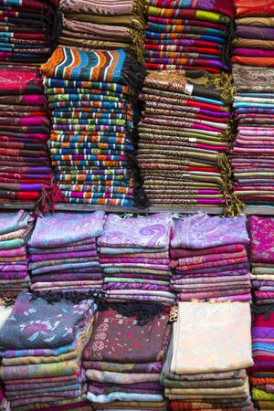 fes: Fabrics on the market in Fes, Morocco