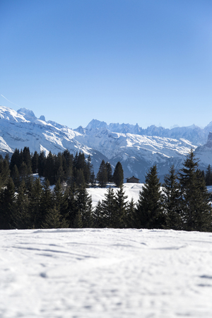 soleil: Portes du Soleil in French Alps Stock Photo