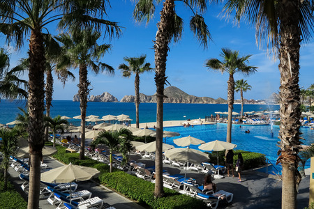 lucas: CABO SAN LUCAS, MEXICO - AUGUST 8, 2014: Unidentified people at RIU Santa Fe Hotel at Cabo San Lucas, Mexico. It is a 5 star hotel at Baja California with 902 guest rooms.