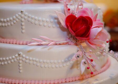 topper: View at the white wedding cake Stock Photo