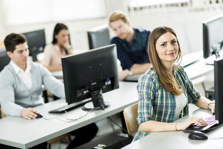 information technology: Students in the classroom Stock Photo