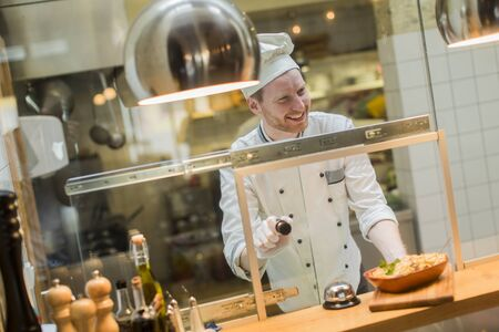 delicious food: Chef in the restaurant Stock Photo