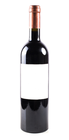 unlabeled: Red wine bottle isolated on white